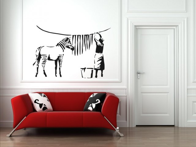 Banksy Washed Zebra Wall Decal Sticker