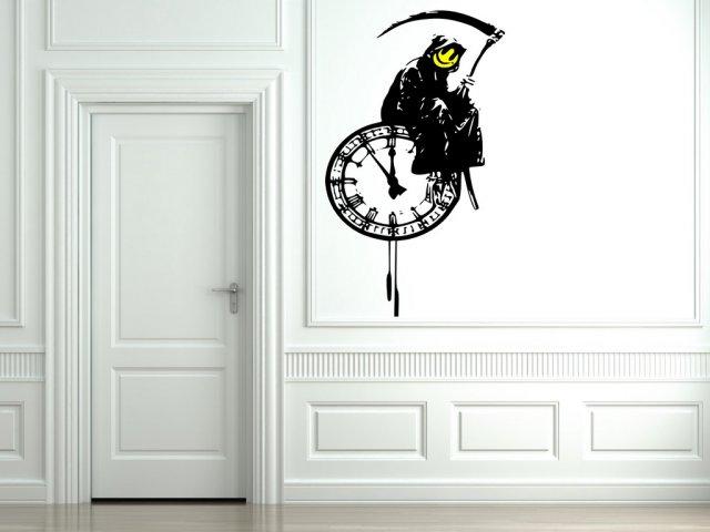 Banksy Style Grim Reaper On A Clock Art Vinyl Decor