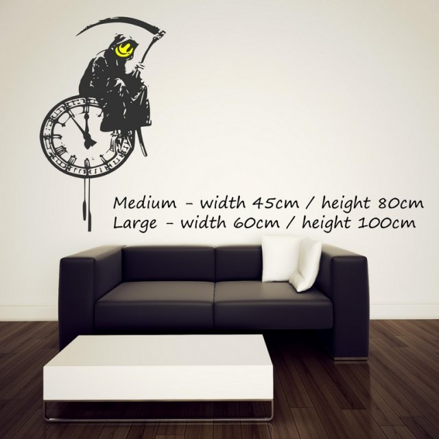 Banksy Style Grim Reaper On A Clock Art Vinyl Decor