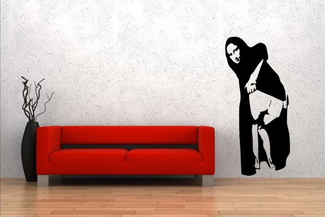 Banksy Style Mona Lisa Mooning By Nick Walker Large Wall