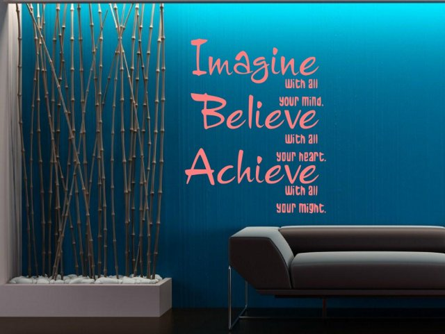 Imagine Believe Achieve Wall Sticker Quote Wall