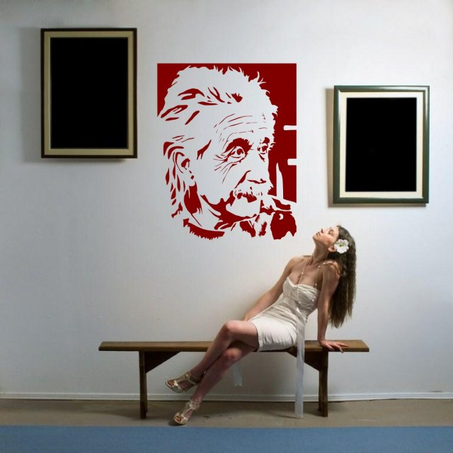 Portrait Of Albert Einstein Large Vinyl Decal Sticker