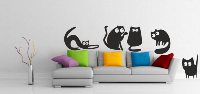 5 Funny Cats - Cute Wall Stickers