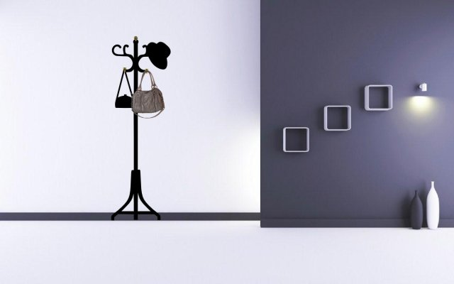 stylish hanger with handbag and hat wall decal hooks | wall stickers
