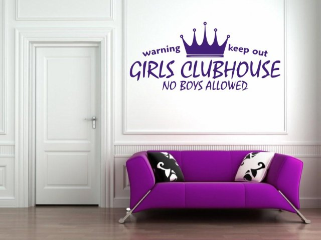 Girls Clubhouse No Boys Allowed Girl Room Wall Door