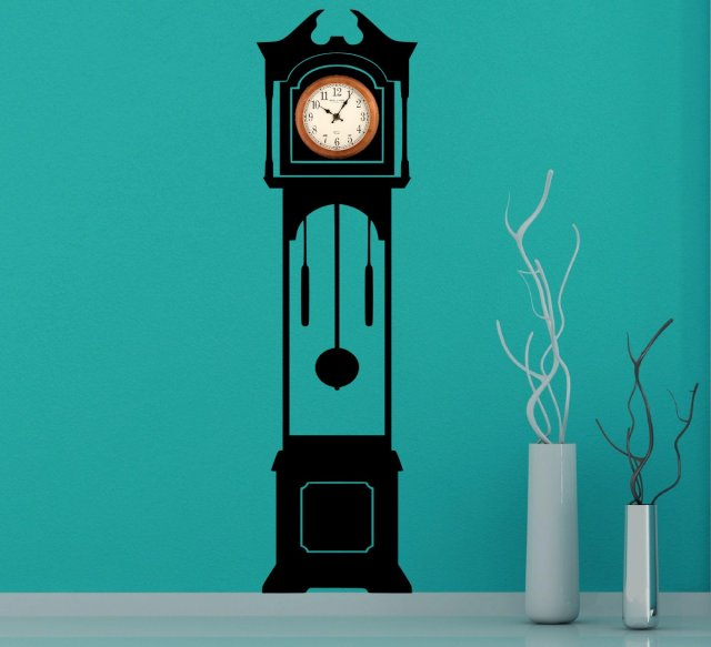 Large Grandfather Clock Silhouette Wall Stickers Clock