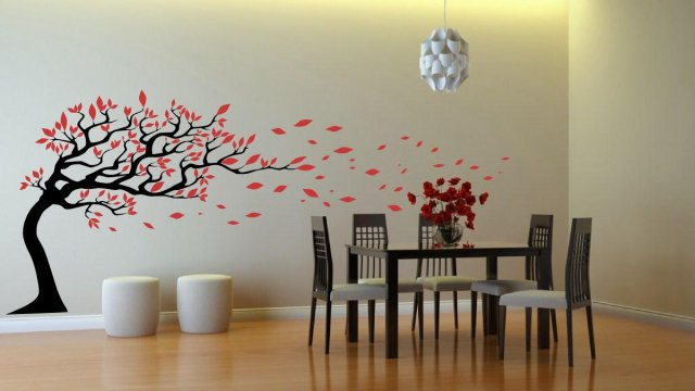 Tree With Leaves Blowing In The Wind Amazing Wall Stickers