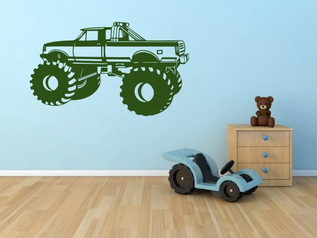 monster truck wall sticker for kids room decal removable