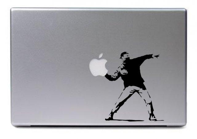 Laptop sticker apple thrower