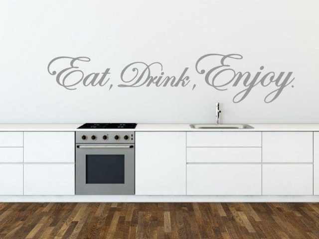 eat, drink, enjoy! version 2 horizontal - kitchen, dinning room wall