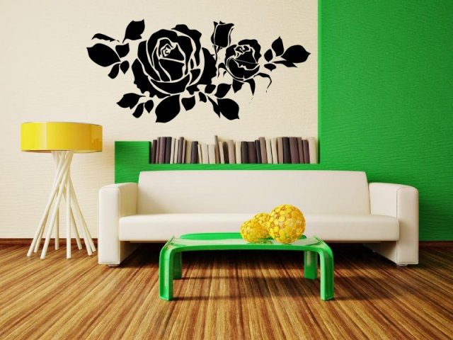 Sweet scented 3D feel amazing roses inviting centre piece wall stickers decal UK