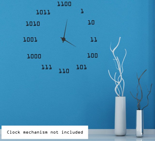 cool binary clock background - wall sticker | wall stickers store