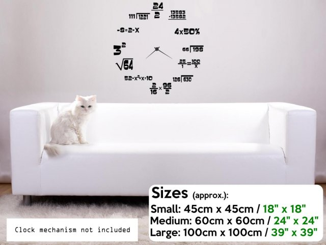Maths Geeks Clock Background Wall Stickers Store Uk