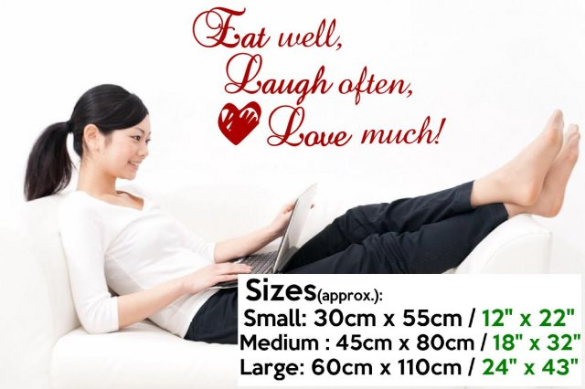 eat well laugh often love much stylish quote wall sticker wall stickers store uk shop. Black Bedroom Furniture Sets. Home Design Ideas