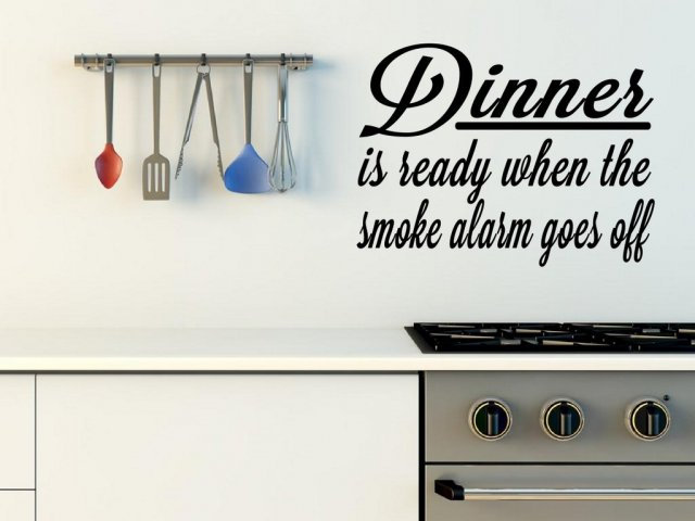 39 dinner is ready when the smoke alarm goes off 39 funny vinyl decoration wall stickers store. Black Bedroom Furniture Sets. Home Design Ideas