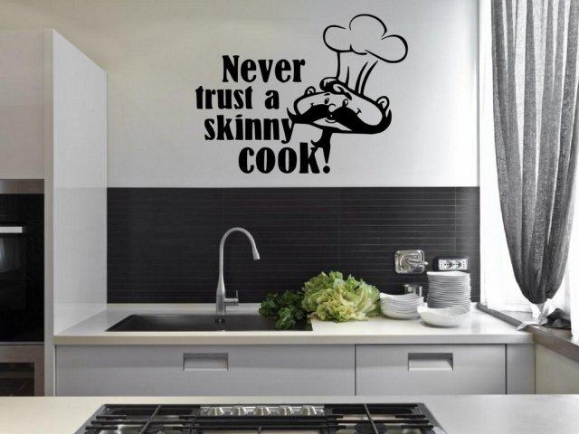 39 never trust a skinny cook 39 kitchen dining room wall for Dining room wall art stickers