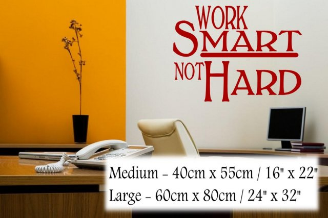Work Smart Not Hard Motivational Quote Wall Stickers Many