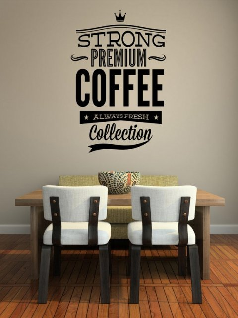 strong premium coffee' - large sticker ideal for restaurant / cafe
