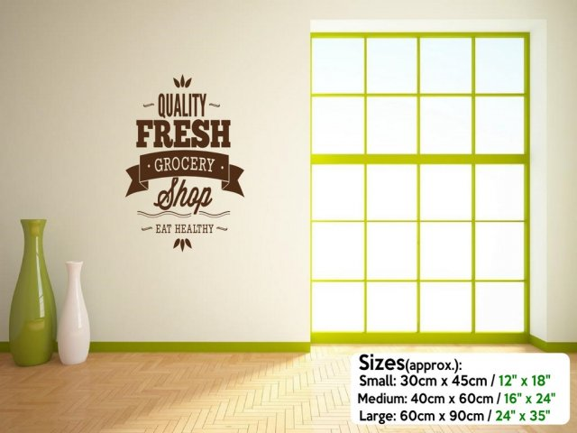 U0027Quality Fresh Grocery Shopu0027   Wall / Window / Door Sticker