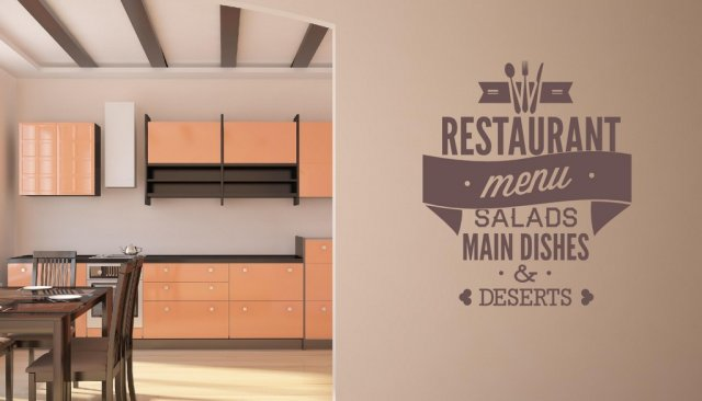 Restaurant Menu Large Vinyl Decor Wall Stickers