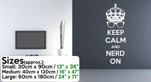 keep calm and nerd on' - geek wall sticker | wall stickers store