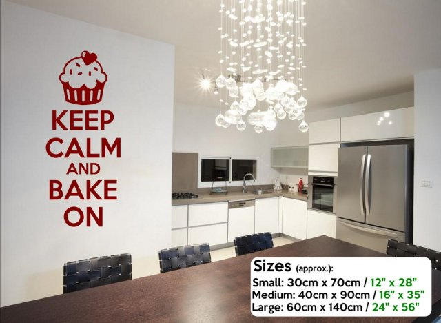 Keep Calm and Bake On Wall Sticker  Wall Decal