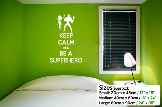 Keep Calm And Be A Superhero Funny Wall Sticker Wall Stickers - Superhero wall decals uk