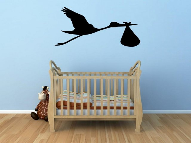 Stork Carrying The Baby Lovely Baby Room Nursery Wall
