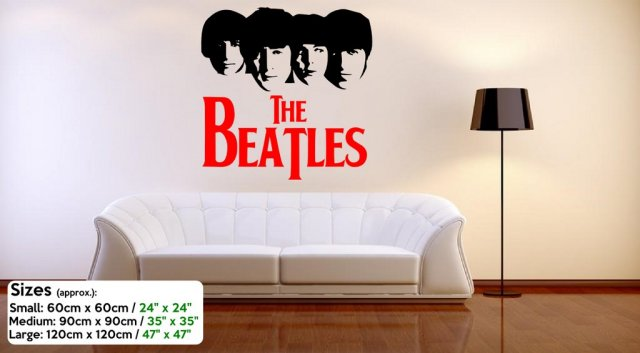 The Beatles Silhouette - Large Vinyl Decor : beatles wall decals - www.pureclipart.com