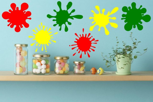 Paint splash set of 6 colourful vinyl stickers wall stickers store uk shop with wall - Paints for exterior walls set ...