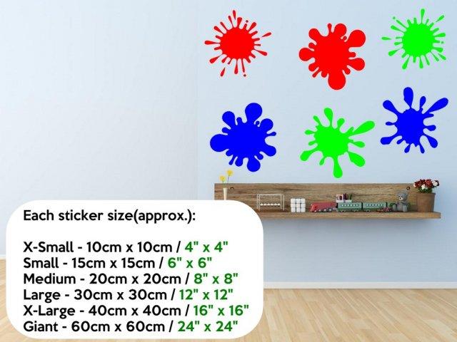 Paint Splash Set Of  Colourful Vinyl Stickers Wall Stickers - Vinyl stickers uk