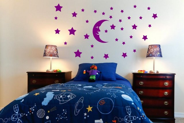 Moon And Huge Set Of Stars Fantastic Kids Room Nursery Wall Decal