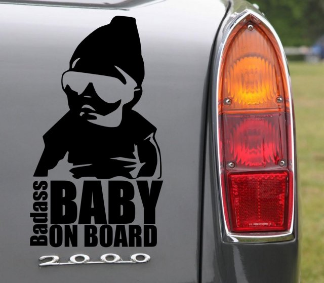 Classic Funny Car Board: Badass Baby On Board - Funny Car Vinyl Sticker