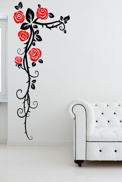 Amazing Roses Wall Corner Large Vinyl Sticker Wall