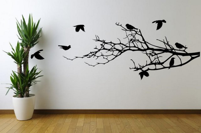 Amazing birds on branches huge vinyl sticker