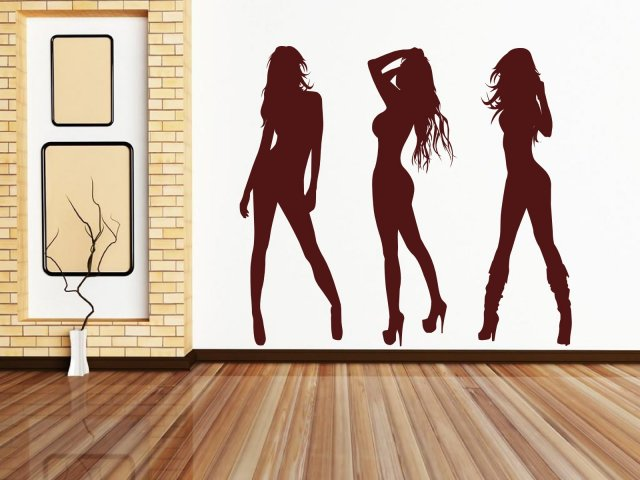 Set Of 3 Realsize Amazing Sexy Girls Large Wall Stickers