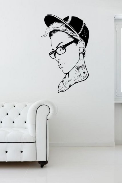 Tattooed Girl With Glasses Modern Wall Decal Wall
