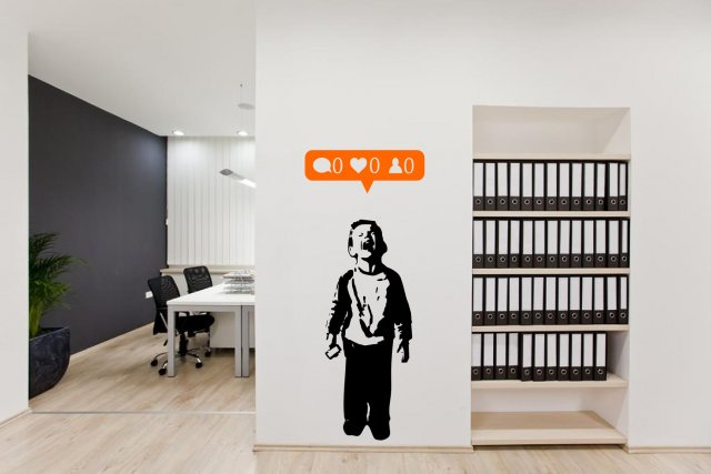 Amazing Wall Art banksy - social media boy - nobody likes me - amazing wall art