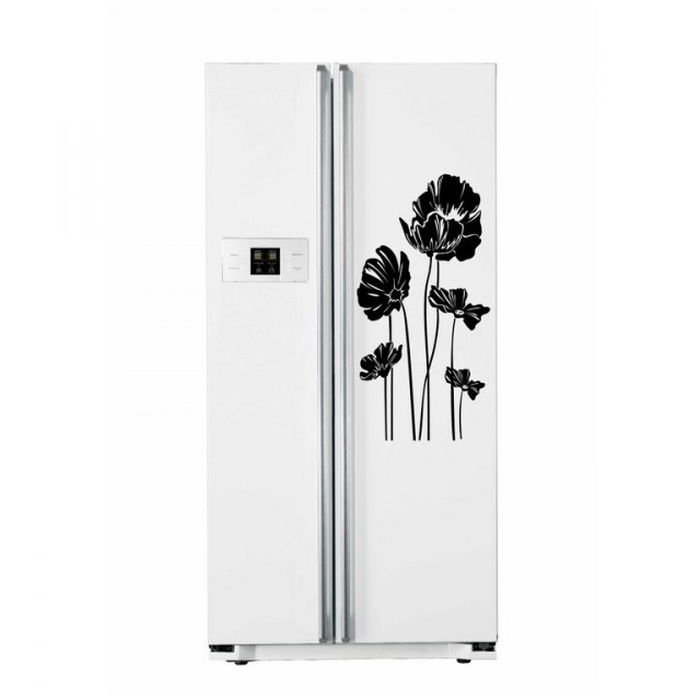 Elegant poppy refrigerator fridge sticker vinyl transfer
