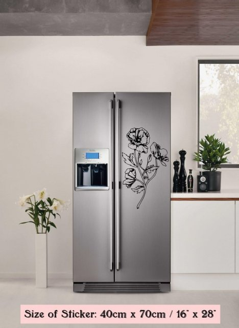 Blooming Flowers Fridge Refrigerator Vinyl Sticker Decal Kitchen Decoration Wall Stickers