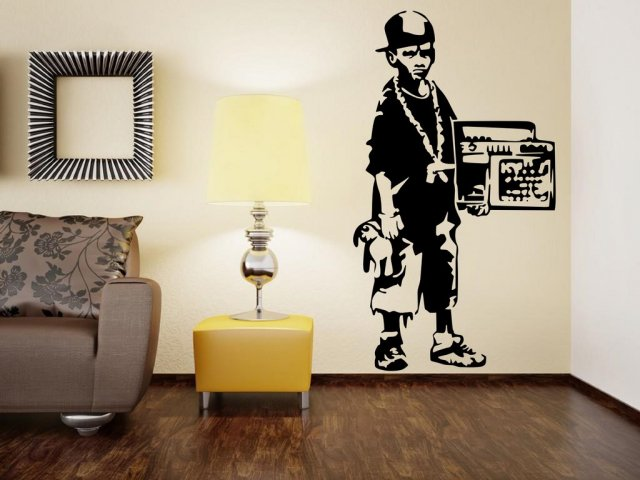 Banksy street gangster boy large vinyl wall decal