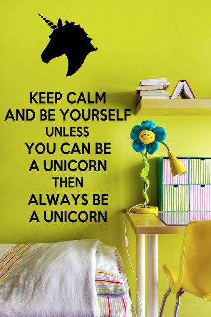 Keep Calm And Be A Unicorn Funny Wall Decal Wall