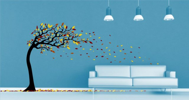 Four Seasons   Stunning Large Tree On The Wind Wall Stickers