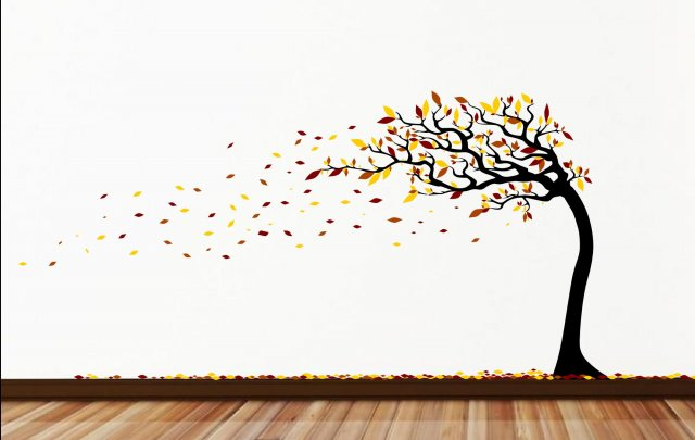 Four seasons stunning large tree on the wind wall for Large tree template for wall