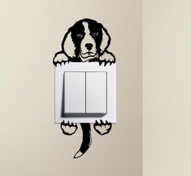 Designer Cute Dog Beagle Pet Light Switch Sticker Funny