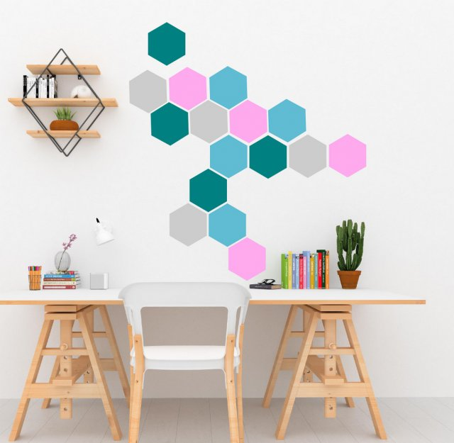 wall sticker geometrical hexagons set of 20 removable scandi decals