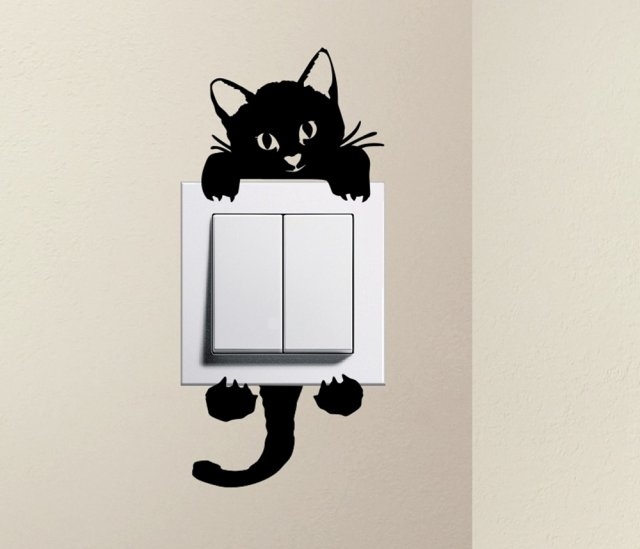 Designer cute kitty cat baby pet light switch sticker funny wall decal