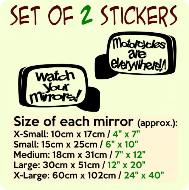 Designer's - Set of 2 Mirrors - Motorcycles are everywhere + Watch ...