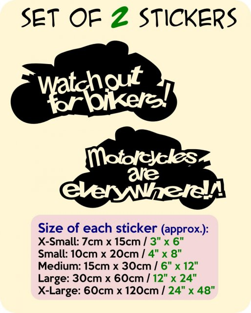 Designer Motorbikes - Set of 2 stickers - Watch out for bikers + ...