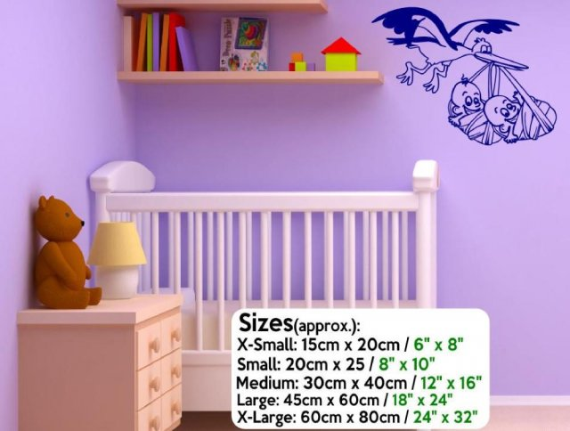 Stork Carrying Twins Cute Amazing Vinyl Wall Stickers High Quality UK Designer